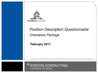 Position Description Questionnaire: Orientation Package