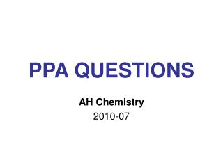 PPA QUESTIONS