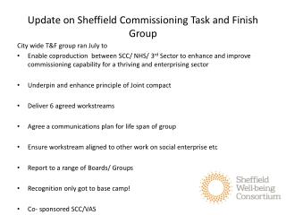 Update on Sheffield Commissioning Task and Finish Group