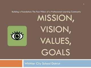 Mission, Vision,  Values,  Goals