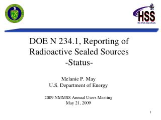 DOE N 234.1, Reporting of Radioactive Sealed Sources -Status-