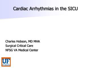 Cardiac Arrhythmias in the SICU