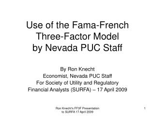 Use of the Fama-French Three-Factor Model by Nevada PUC Staff