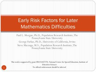 Early Risk Factors for Later Mathematics Difficulties
