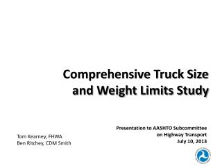 Comprehensive Truck Size and Weight Limits Study