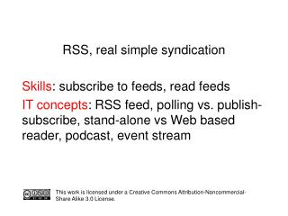 RSS, real simple syndication