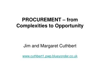 PROCUREMENT – from Complexities to Opportunity