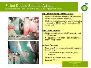 Failed Double Studded Adapter (Choke Manifold Test – 4 th  test @ 10,000 psi; equipment failed)