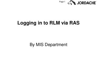 Logging in to RLM via RAS