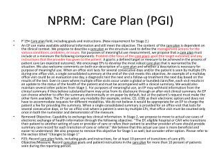 NPRM:  Care Plan (PGI)