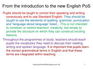 From the introduction to the new English PoS