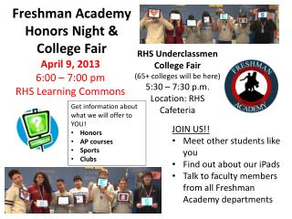 Freshman Academy Honors Night &  College Fair