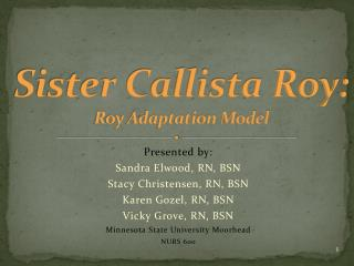 Sister Callista Roy: Roy Adaptation  Model