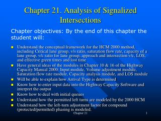 Chapter 21. Analysis of Signalized Intersections