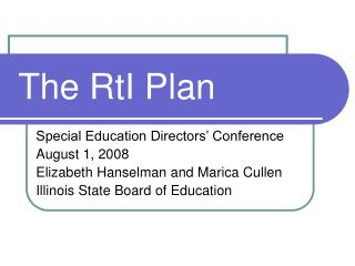 The RtI Plan