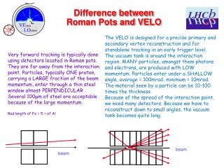 Difference between  Roman Pots and VELO