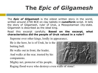 epic of gilgamesh introduction essay Journey of gilgamesh and enkidu the epic of gilgamesh is the earliest known literary text, written in cuneiform and dating to about 2100 bce in mesopotamia it tells the epic journeys of gilgames, the king of uruk, along with his friend enkidu.