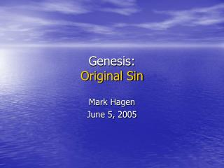 Genesis: Original Sin