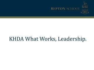 KHDA What Works, Leadership.