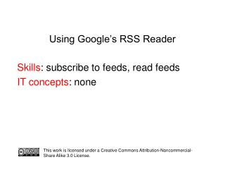 Using Google's RSS Reader