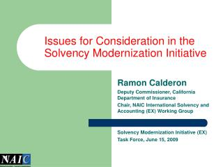 Issues for Consideration in the Solvency Modernization Initiative
