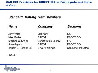 SAR-001 Provision for ERCOT ISO to Participate and Have a Vote
