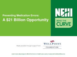 Preventing Medication Errors: A $21 Billion Opportunity