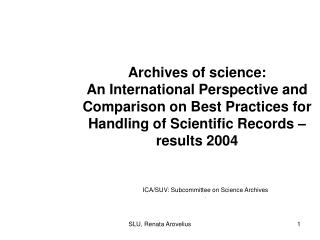 ICA/SUV: Subcommittee on Science Archives .