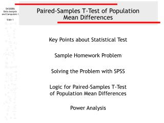 Paired-Samples T-Test of Population  Mean Differences