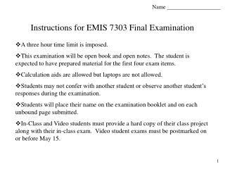 Instructions for EMIS 7303 Final Examination
