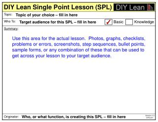 DIY Lean Single Point Lesson (SPL)