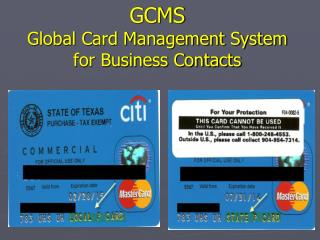 GCMS Global Card Management System for Business Contacts