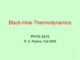 Black-Hole Thermodynamics