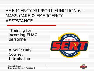 EMERGENCY SUPPORT FUNCTION 6 - MASS CARE & EMERGENCY ASSISTANCE