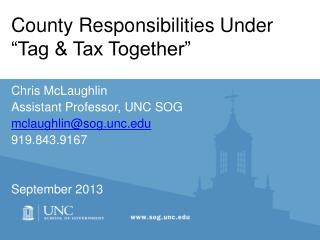 """County Responsibilities Under """"Tag & Tax Together"""""""