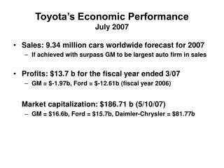 Toyota's Economic Performance July 2007