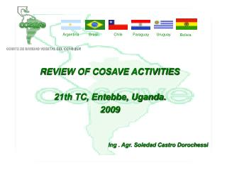 REVIEW OF COSAVE ACTIVITIES 21th TC, Entebbe, Uganda. 2009 Ing . Agr. Soledad Castro Dorochessi