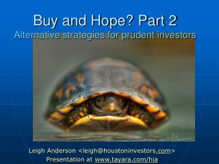Buy and Hope Part 2 Alternative strategies for prudent investors