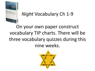 Night  Vocabulary Ch 1-3 On your own paper construct a vocabulary TIP chart.