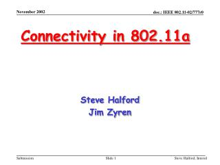 Connectivity in 802.11a