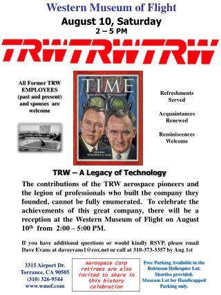 Western Museum of Flight August 10, Saturday 2 – 5 PM