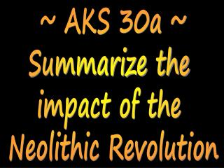 ~ AKS 30a ~ Summarize the  impact of the  Neolithic Revolution