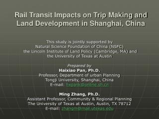Rail Transit Impacts on Trip Making and Land Development in Shanghai, China