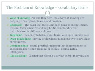 The Problem of Knowledge – vocabulary terms