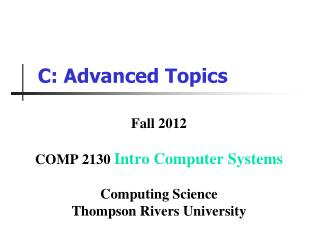 C: Advanced Topics