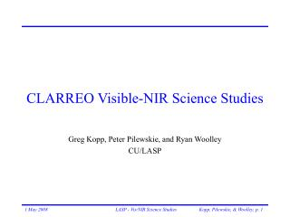 CLARREO Visible-NIR Science Studies