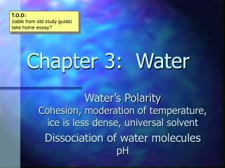 Chapter 3:  Water