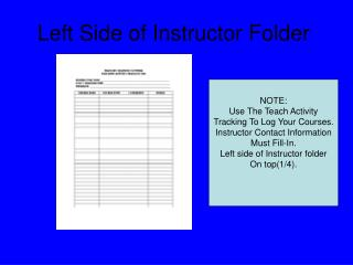 Left Side of Instructor Folder