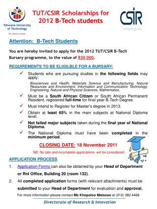 TUT/CSIR Scholarships for  2012  B-Tech students