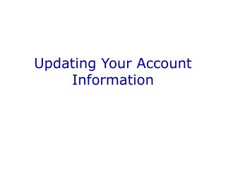 Updating Your Account Information